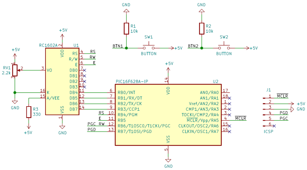LCD circuit for PIC16F628A microcontroller.